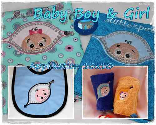 Applikation Baby Boy und Girl 10x10