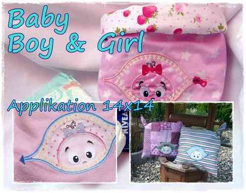 Applikation Baby Boy und Girl 14x14