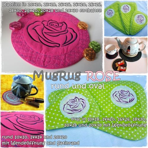 MugRug Set ROSE 10x10 bis 20x30