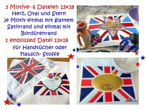 Stickdatei Flagge und Flagge *embossed* 13x18