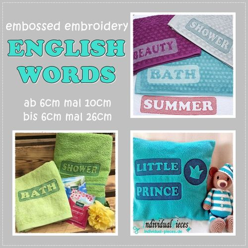 *embossed* english words 6x10cm bis 6x26cm