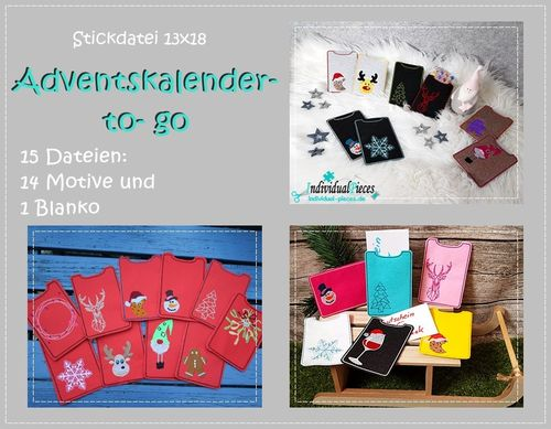 Stickdatei Cover für Adventskalender to go 13x18